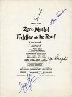FIDDLER ON THE ROOF PLAY CAST - PROGRAM SIGNED CO-SIGNED BY: JEROME ROBBINS, JOSEPH STEIN, ZERO MOSTEL, MARIA KARNILOVA, JOE PONAZECKI, RICHARD ALTMAN