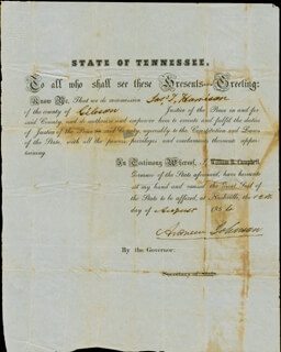 Autographs: PRESIDENT ANDREW JOHNSON - CIVIL APPOINTMENT SIGNED 08/12/1854