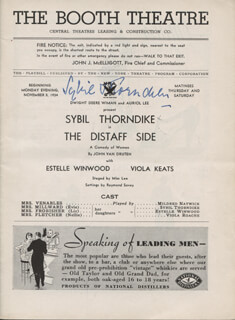 Autographs: DAME SYBIL THORNDIKE - SHOW BILL COVER SIGNED