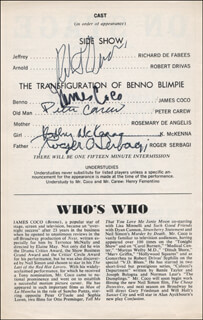 MONSTERS PLAY CAST - SHOW BILL SIGNED CO-SIGNED BY: JAMES JIMMY COCO, ROBERT DRIVAS, ROGER OMAR SERBAGI, PETER CAREW, KATHY MCKENNA