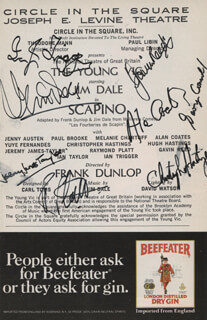 SCAPINO PLAY CAST - SHOW BILL SIGNED CO-SIGNED BY: JIM DALE, ALAN COATES, GAVIN REED, GEORGE CONNOLLY, CHRISTOPHER HASTINGS, IAN TRIGGER, JEREMY JAMES TAYLOR, RAYMOND PLATT