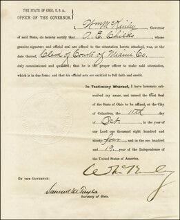 Autographs: PRESIDENT WILLIAM McKINLEY - DOCUMENT SIGNED 10/11/1894 CO-SIGNED BY: SAMUEL M. TAYLOR