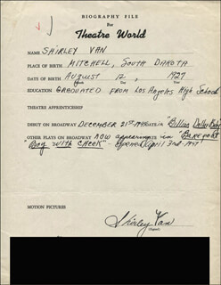 SHIRLEY VAN - AUTOGRAPH RESUME SIGNED
