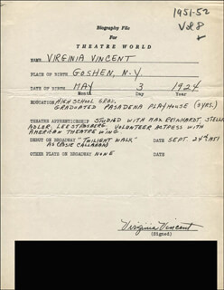 VIRGINIA VINCENT - AUTOGRAPH RESUME SIGNED
