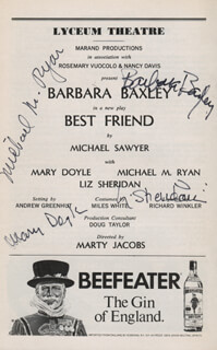 Autographs: BEST FRIEND PLAY CAST - SHOW BILL SIGNED CO-SIGNED BY: BARBARA BAXLEY, LIZ SHERIDAN, MICHAEL RYAN, MARY DOYLE