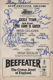 THE CORN IS GREEN PLAY CAST - SHOW BILL SIGNED CO-SIGNED BY: DONALD BUKA, ELIZABETH SEAL, GIL ROGERS, PETER GALLAGHER, MARGE REDMOND, MYVANWY JENN, FRANK HAMILTON, MIA DILLON