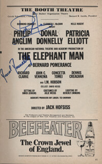 THE ELEPHANT MAN PLAY CAST - SHOW BILL SIGNED CO-SIGNED BY: DONAL DONNELLY, PHILIP ANGLIM