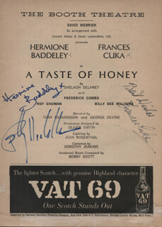Autographs: A TASTE OF HONEY PLAY CAST - SHOW BILL SIGNED CO-SIGNED BY: BILLY DEE WILLIAMS, HERMIONE BADDELEY, FRANCES CUKA