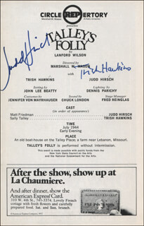 TALLEY'S FOLLY PLAY CAST - SHOW BILL SIGNED CO-SIGNED BY: JUDD HIRSCH, TRISH HAWKINS