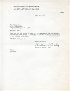 DR. DENTON A. COOLEY - TYPED LETTER SIGNED 07/26/1978