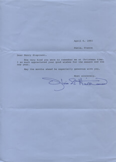 OLIVIA DE HAVILLAND - TYPED LETTER SIGNED 04/06/1993