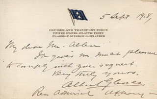 Autographs: ADMIRAL ALBERT GLEAVES - AUTOGRAPH LETTER SIGNED 09/05/1918