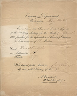 Autographs: BRIGADIER GENERAL CHARLES GRATIOT - DOCUMENT SIGNED 05/16/1834
