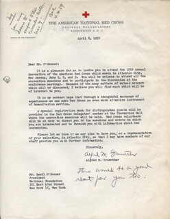 GENERAL ALFRED M. GRUENTHER - TYPED LETTER SIGNED 04/08/1959 CO-SIGNED BY: BASIL O'CONNOR