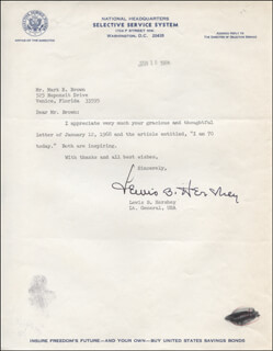 GENERAL LEWIS B. OLDEST SOLDIER HERSHEY - TYPED LETTER SIGNED 01/18/1968