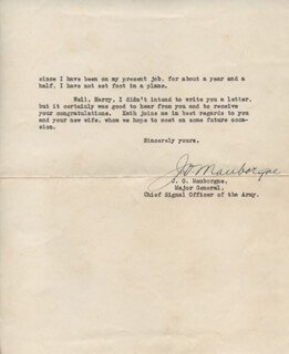 MAJOR GENERAL JOSEPH O. MAUBORGNE - TYPED LETTER SIGNED 05/18/1939