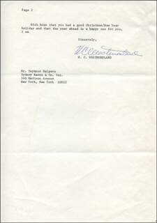 GENERAL WILLIAM C. WESTMORELAND - TYPED LETTER SIGNED 01/07/1980