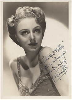 VIRGINIA FIELD - AUTOGRAPHED INSCRIBED PHOTOGRAPH