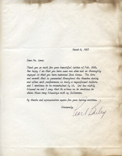 PEARL BAILEY - TYPED LETTER SIGNED 03/06/1968
