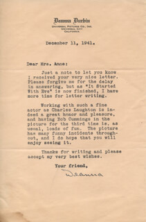 DEANNA DURBIN - TYPED LETTER SIGNED 12/11/1941