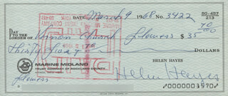HELEN HAYES - AUTOGRAPHED SIGNED CHECK 03/09/1968