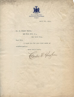 CHIEF JUSTICE CHARLES E HUGHES - TYPED LETTER SIGNED 04/30/1910