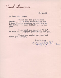 CAROL LAWRENCE - TYPED LETTER SIGNED 04/26