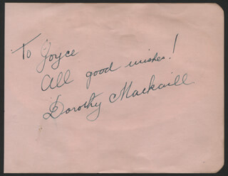 DOROTHY MACKAILL - AUTOGRAPH NOTE SIGNED