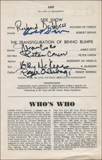 MONSTERS PLAY CAST - SHOW BILL SIGNED CO-SIGNED BY: JAMES JIMMY COCO, ROBERT DRIVAS, RICHARD DE FABEES, ROGER OMAR SERBAGI, PETER CAREW, KATHY MCKENNA