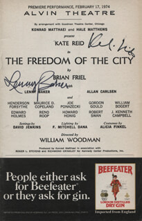 THE FREEDOM OF THE CITY PLAY CAST - SHOW BILL SIGNED CO-SIGNED BY: KATE REID, LENNY BAKER