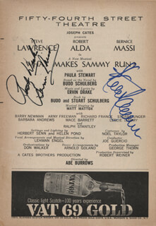 WHAT MAKES SAMMY RUN? PLAY CAST - SHOW BILL SIGNED CO-SIGNED BY: STEVE LAWRENCE, BERNICE MASSI