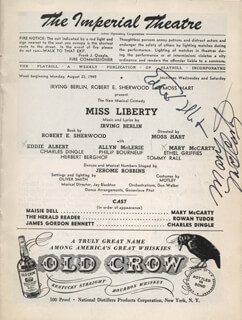 MISS LIBERTY PLAY CAST - SHOW BILL SIGNED CO-SIGNED BY: EDDIE ALBERT, MARY MCCARTY