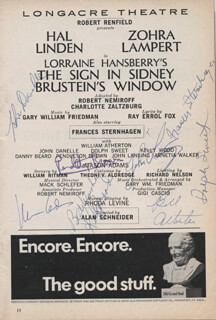 THE SIGN IN SIDNEY BRUSTEIN'S WINDOW PLAY CAST - SHOW BILL SIGNED CO-SIGNED BY: WILLIAM ATHERTON, FRANCES STERNHAGEN, JOHN DANELLE, PENDLETON BROWN, MASON ADAMS, KELLY WOOD, JOHN LANSING, DOLPH SWEET