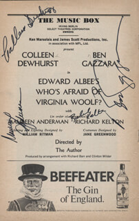 WHO'S AFRAID OF VIRGINIA WOOLF? PLAY CAST - SHOW BILL SIGNED CO-SIGNED BY: COLLEEN DEWHURST, BEN GAZZARA, MAUREEN ANDERMAN, RICHARD KELTON