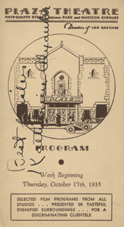 KATHARINE ALEXANDER - PROGRAM SIGNED CIRCA 1935