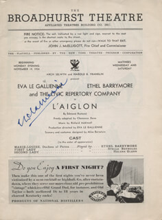 EVA LE GALLIENNE - SHOW BILL SIGNED