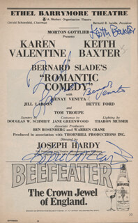 ROMANTIC COMEDY PLAY CAST - SHOW BILL SIGNED CO-SIGNED BY: KAREN VALENTINE, KEITH BAXTER, BENAY VENUTA, JILL LARSON