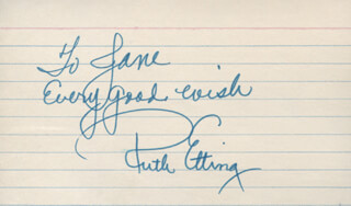 RUTH ETTING - AUTOGRAPH NOTE SIGNED