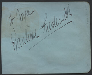 PAULINE FREDERICK - INSCRIBED SIGNATURE
