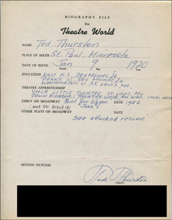 TED THURSTON - AUTOGRAPH RESUME SIGNED