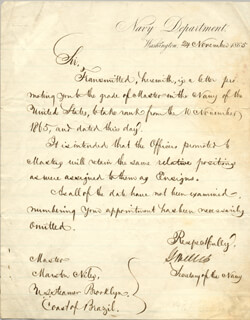 GIDEON WELLES - MILITARY APPOINTMENT SIGNED 11/24/1865 CO-SIGNED BY: REAR ADMIRAL THOMAS H. PATTERSON
