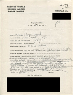 HELEN LLOYD BREED - AUTOGRAPH RESUME SIGNED