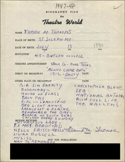 FRANK M. THOMAS - AUTOGRAPH RESUME SIGNED