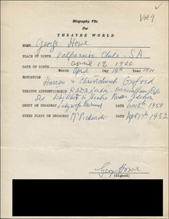 GEORGE HOWE - AUTOGRAPH RESUME SIGNED