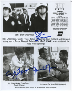 HEAT WAVE MOVIE CAST - PRINTED PHOTOGRAPH SIGNED IN INK CO-SIGNED BY: CICELY THOMAS, JAMES EARL JONES, BLAIR UNDERWOOD