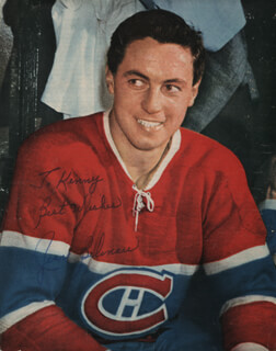 JEAN BELIVEAU - INSCRIBED MAGAZINE PHOTO SIGNED
