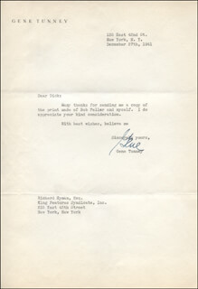 GENE TUNNEY - TYPED LETTER SIGNED 12/27/1941