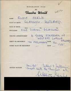 EILEEN HERLIE - AUTOGRAPH RESUME SIGNED