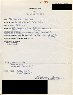 MADONNA YOUNG - AUTOGRAPH RESUME SIGNED