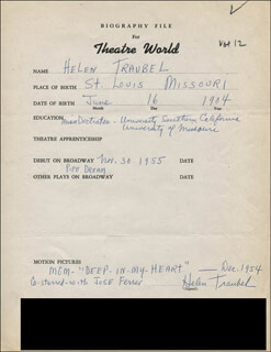 HELEN TRAUBEL - AUTOGRAPH RESUME SIGNED